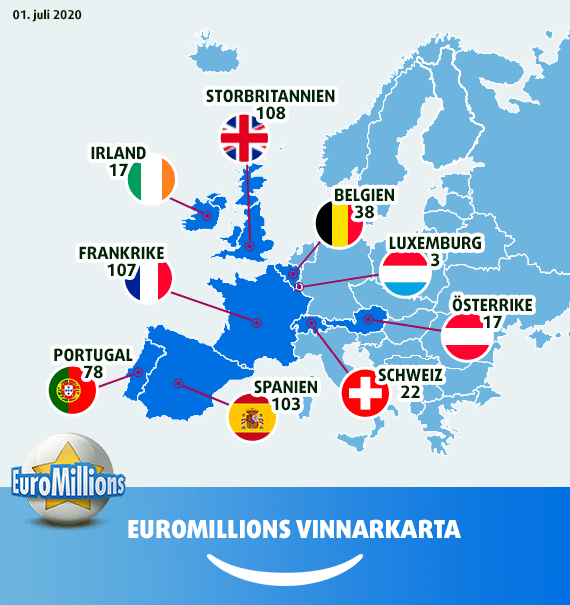 Karta över de mest framgångsrika EuroMillions-länderna
